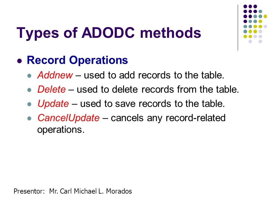 Types of ADODC methods Record Operations