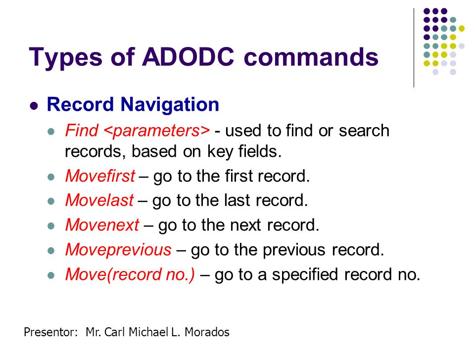 Types of ADODC commands