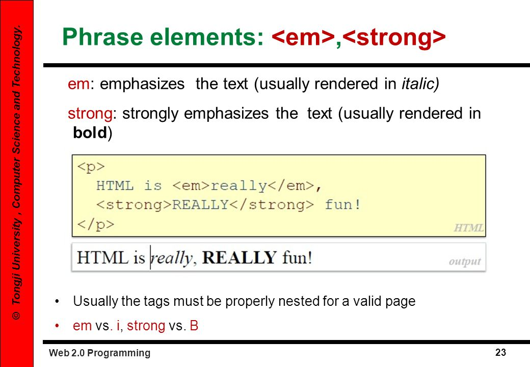 Phrase elements: <em>,<strong>