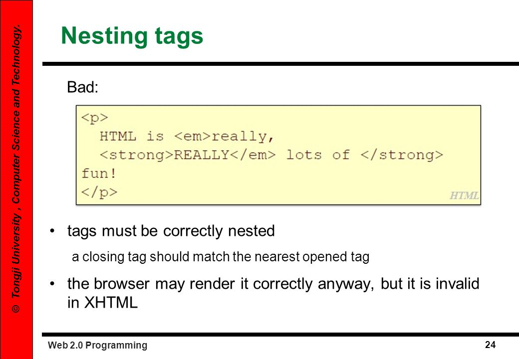 Nesting tags Bad: tags must be correctly nested