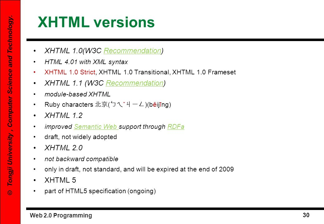 XHTML versions XHTML 1.0(W3C Recommendation)
