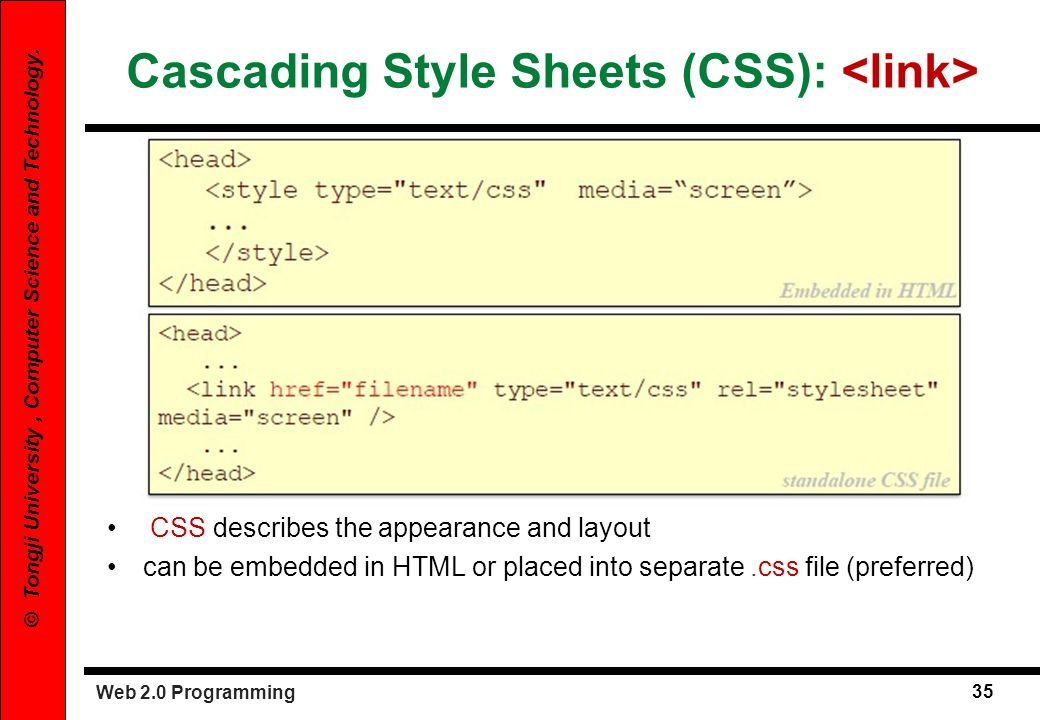 Cascading Style Sheets (CSS): <link>