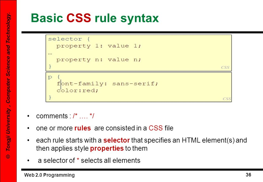 Basic CSS rule syntax comments : /* …. */