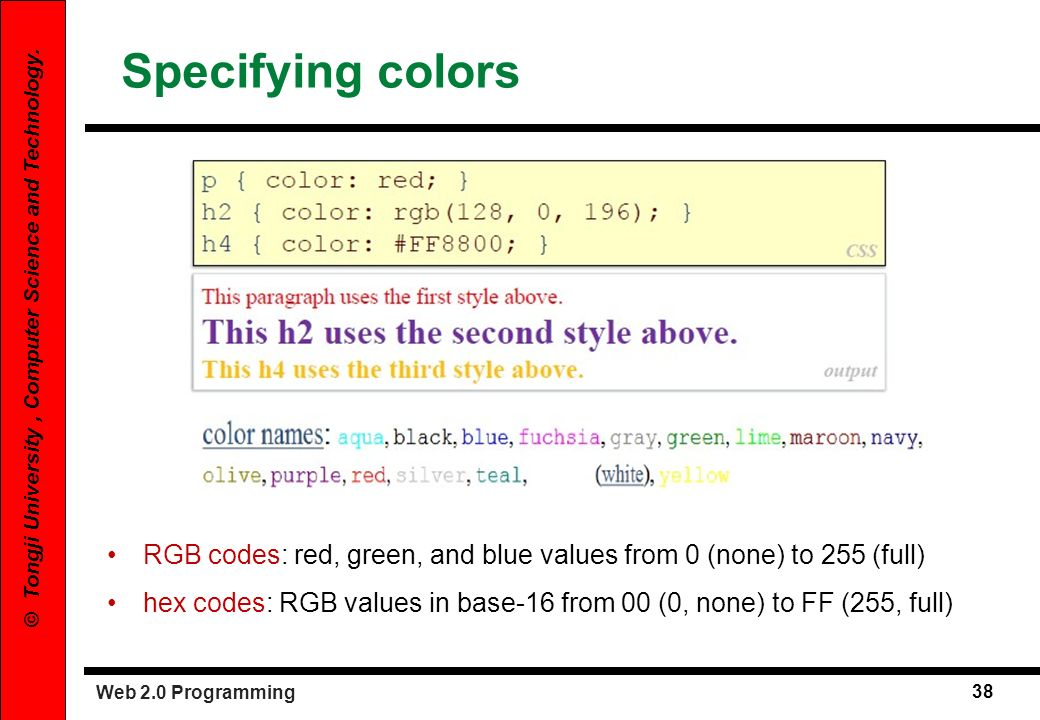 Specifying colors RGB codes: red, green, and blue values from 0 (none) to 255 (full)