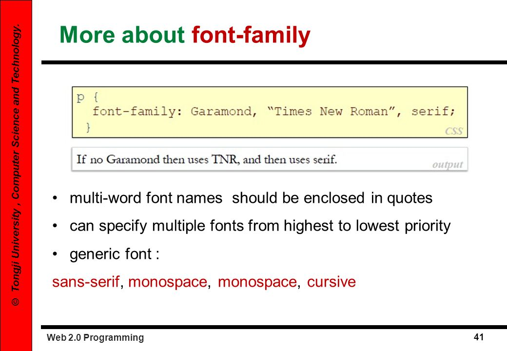 More about font-family