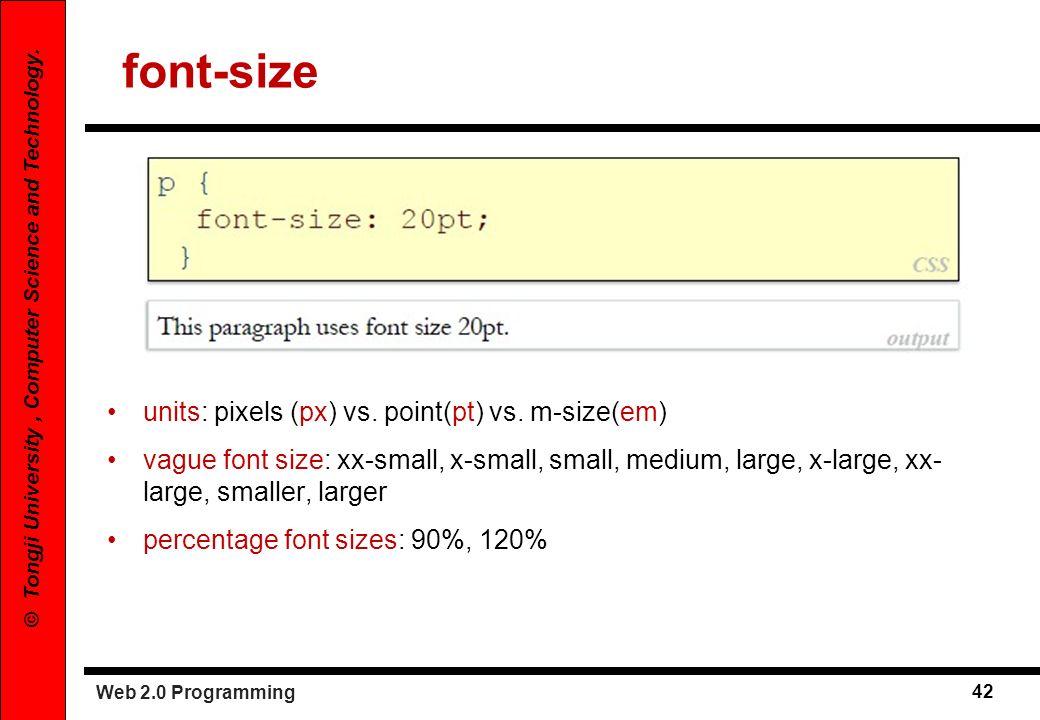 font-size units: pixels (px) vs. point(pt) vs. m-size(em)