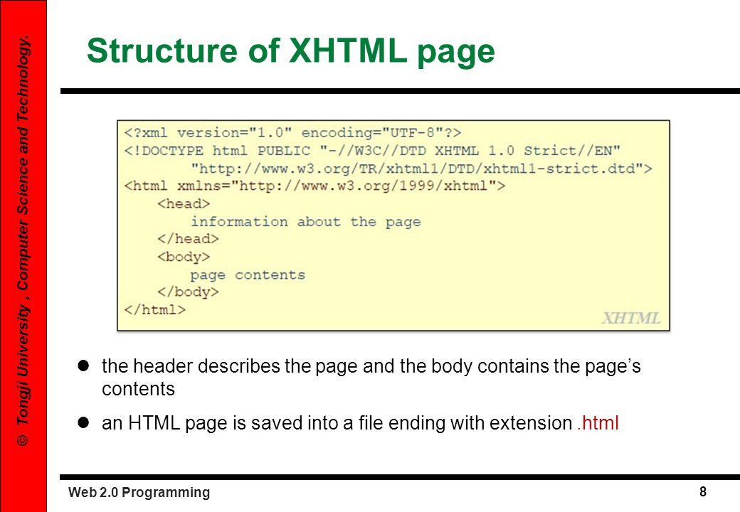 Structure of XHTML page