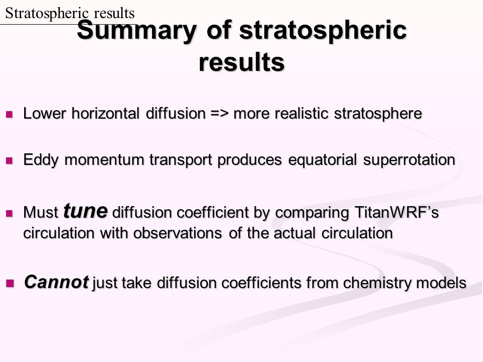 Summary of stratospheric results