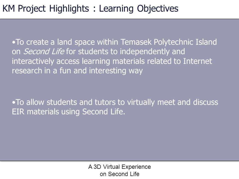 KM Project Highlights : Learning Objectives