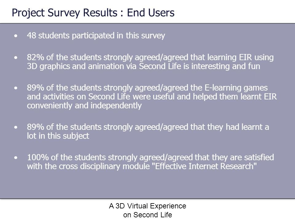 Project Survey Results : End Users
