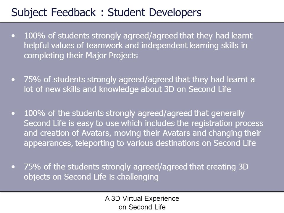 Subject Feedback : Student Developers