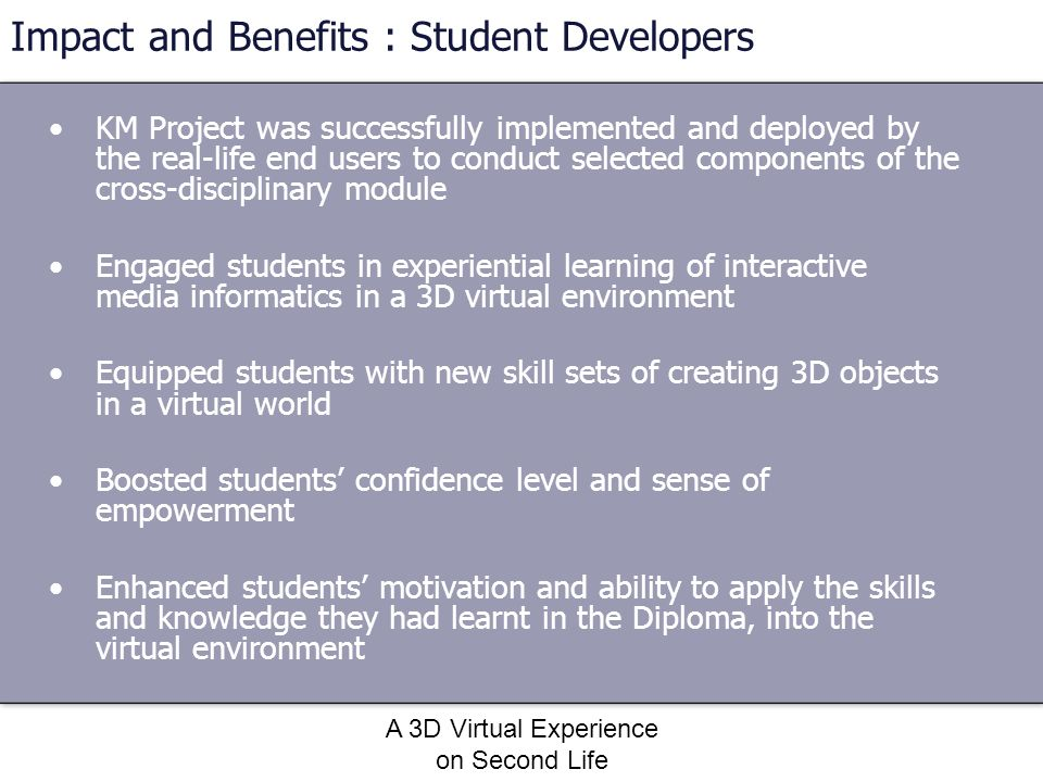 Impact and Benefits : Student Developers
