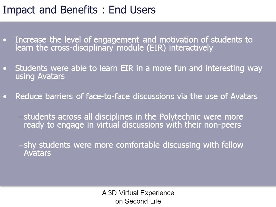 Impact and Benefits : End Users