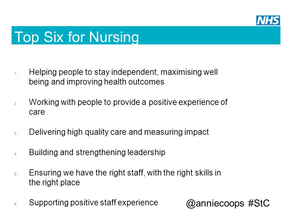 Top Six for Nursing @anniecoops #StC