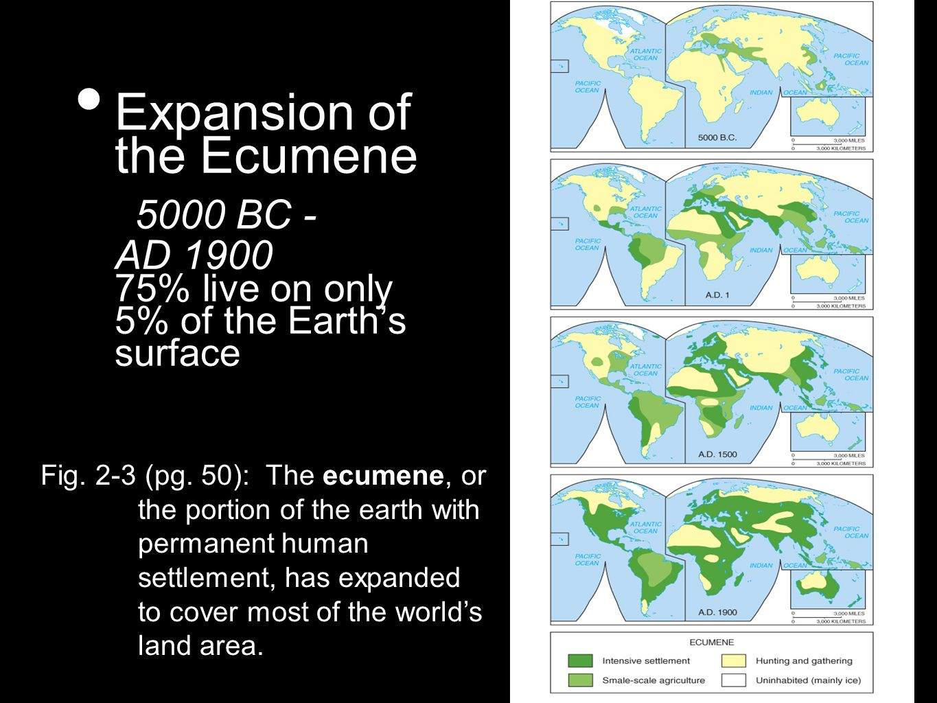 Expansion of the Ecumene 5000 BC - AD 1900 75% live on only 5% of the Earth's surface