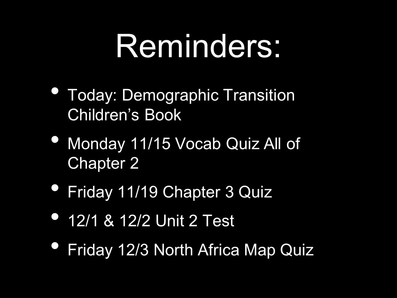 Reminders: Today: Demographic Transition Children's Book