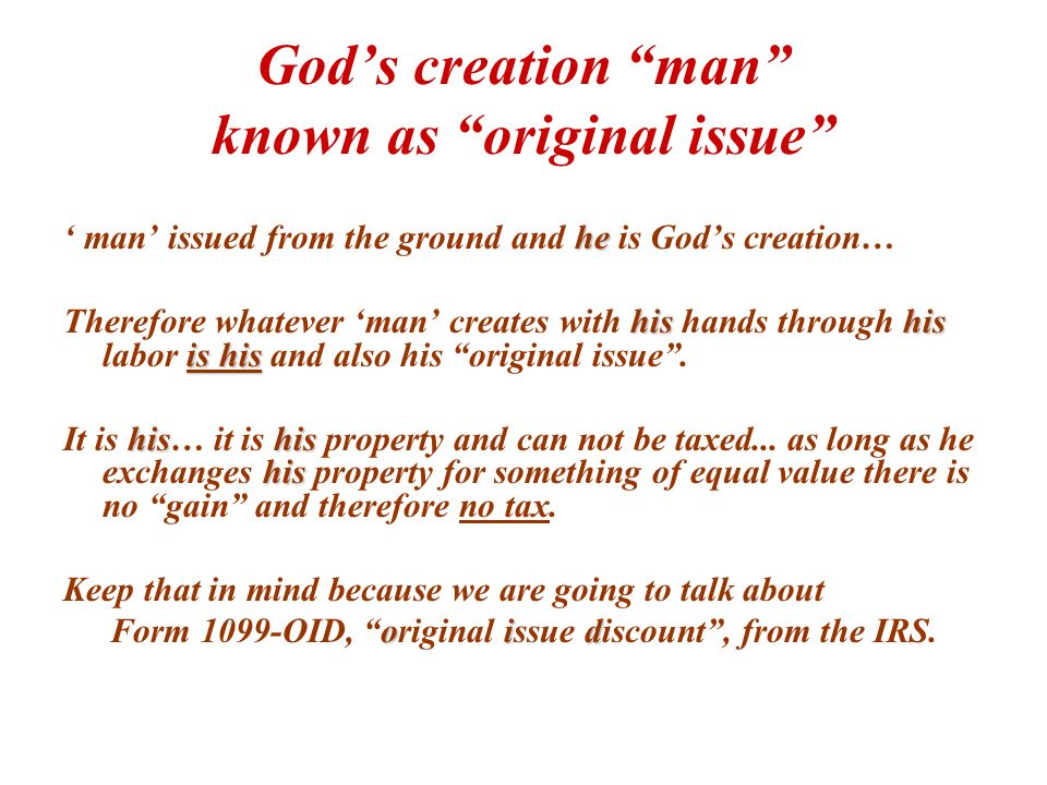 God's creation man known as original issue