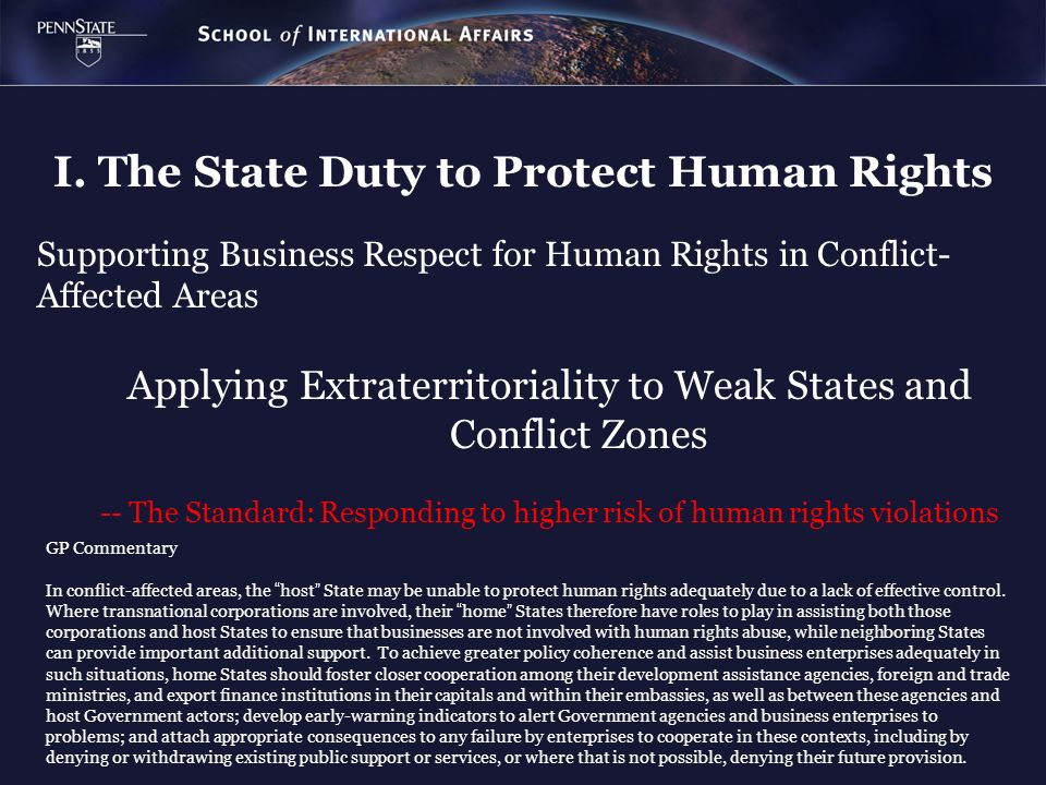 I. The State Duty to Protect Human Rights