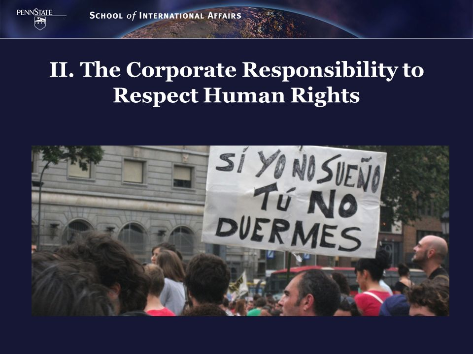 II. The Corporate Responsibility to Respect Human Rights