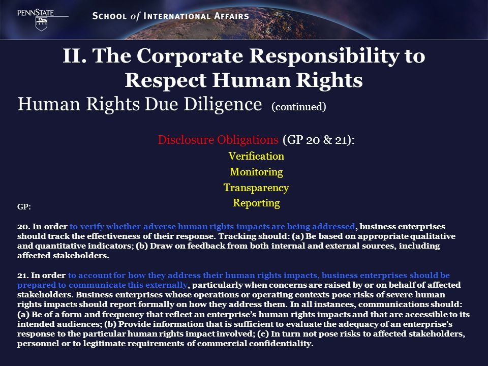 Human Rights Due Diligence (continued)