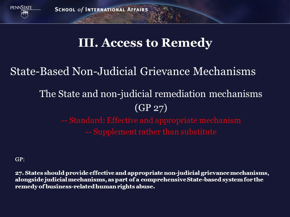 State-Based Non-Judicial Grievance Mechanisms