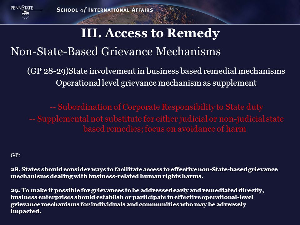 Non-State-Based Grievance Mechanisms
