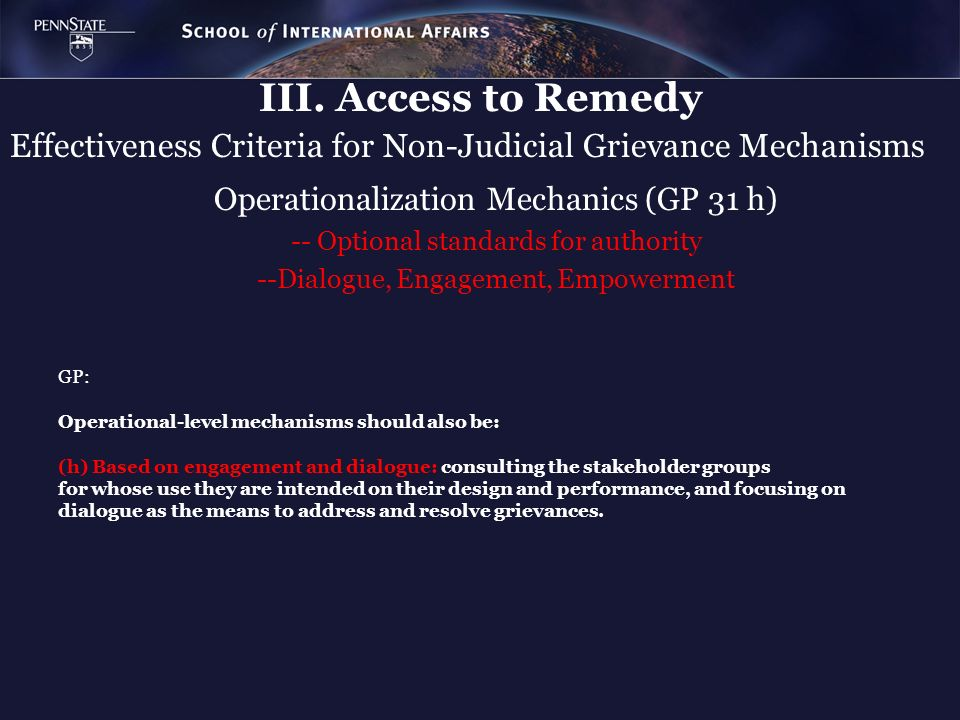 Effectiveness Criteria for Non-Judicial Grievance Mechanisms