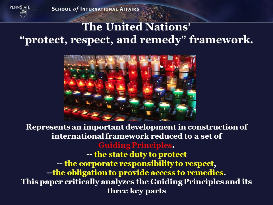 The United Nations' protect, respect, and remedy framework