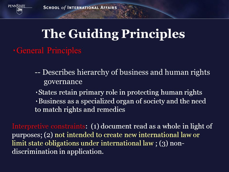 The Guiding Principles