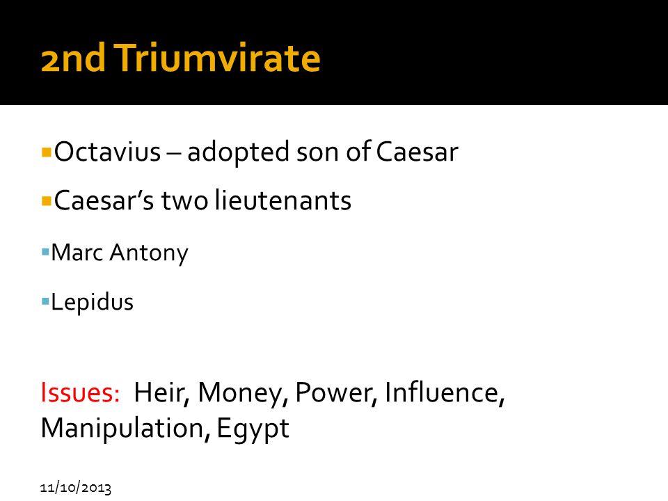2nd Triumvirate Octavius – adopted son of Caesar