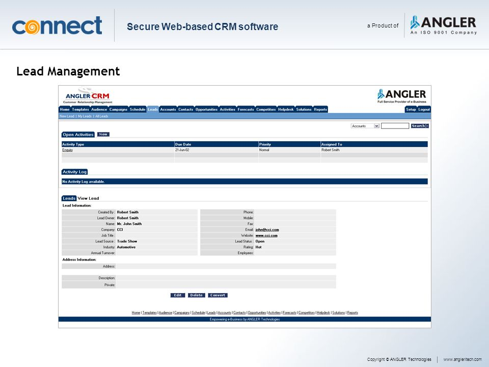 Lead Management Secure Web-based CRM software a Product of