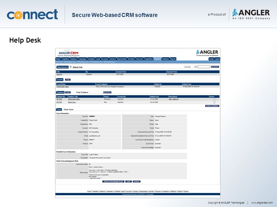 Help Desk Secure Web-based CRM software a Product of