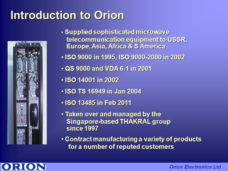 Introduction to Orion telecommunication equipment to USSR,