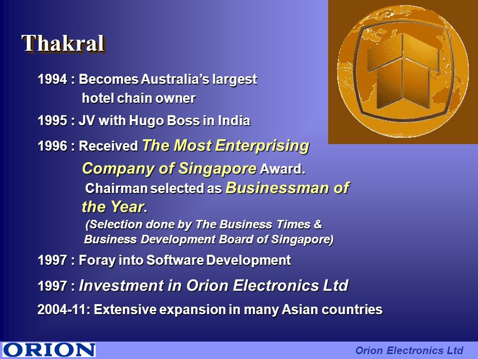 Thakral Company of Singapore Award. the Year.