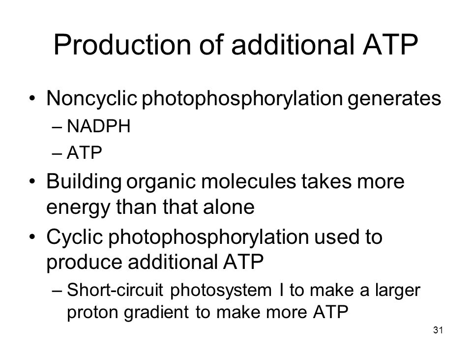 Production of additional ATP
