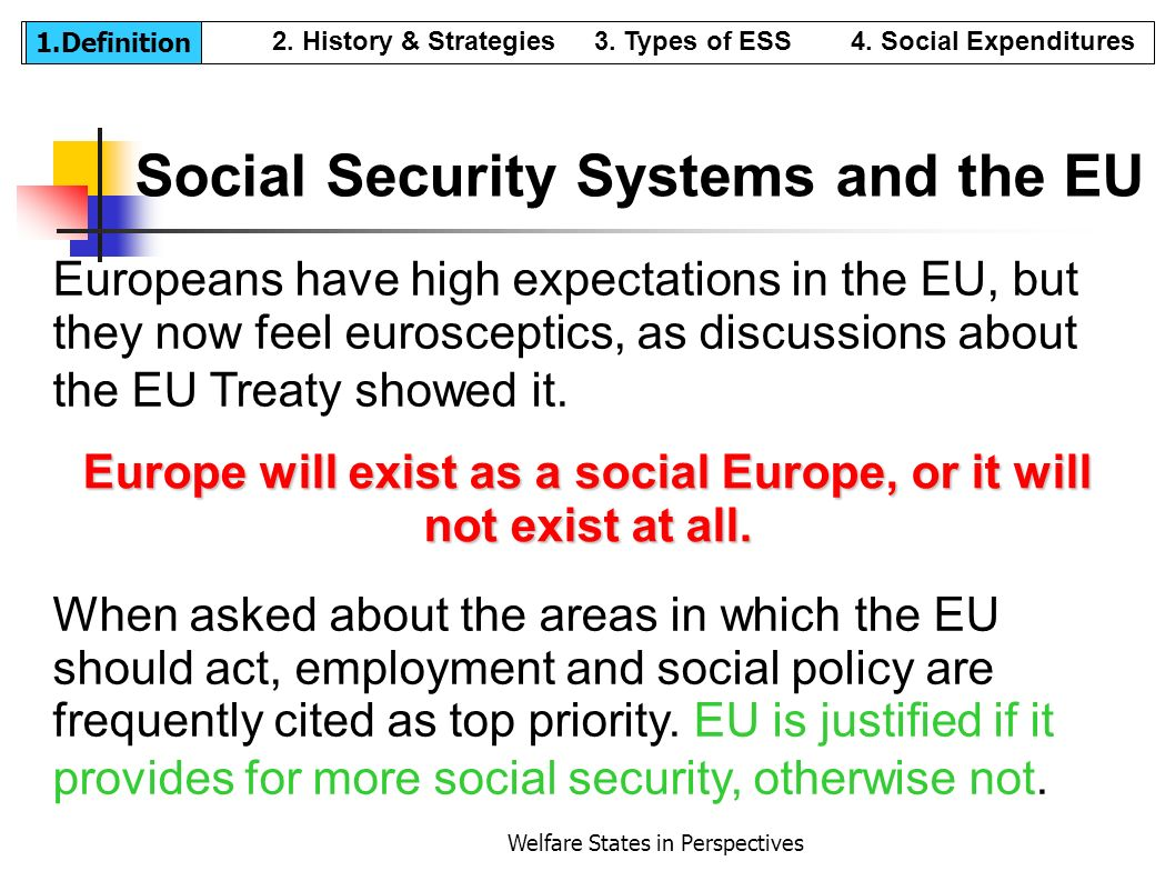 Social Security Systems and the EU