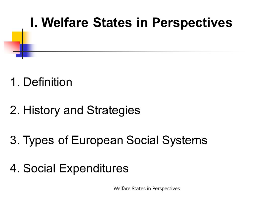 I. Welfare States in Perspectives