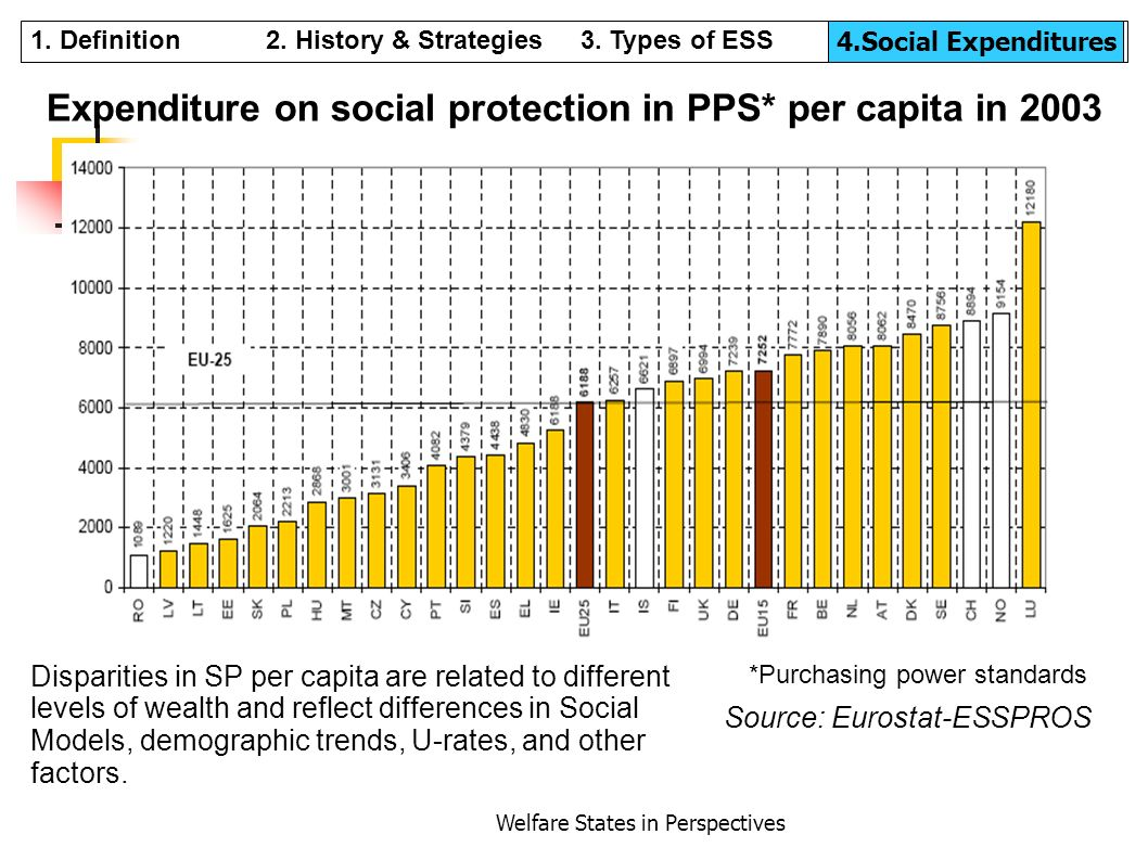 Expenditure on social protection in PPS* per capita in 2003
