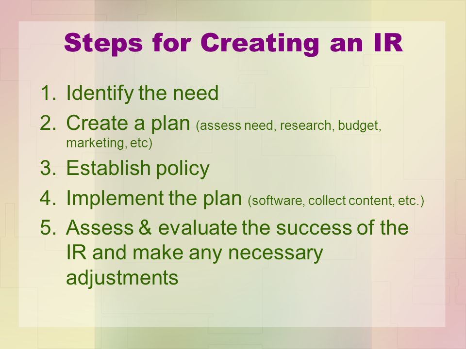 Steps for Creating an IR