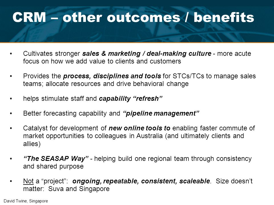 CRM – other outcomes / benefits