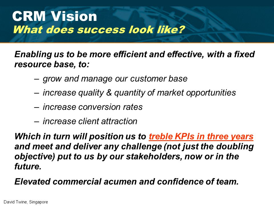 CRM Vision What does success look like