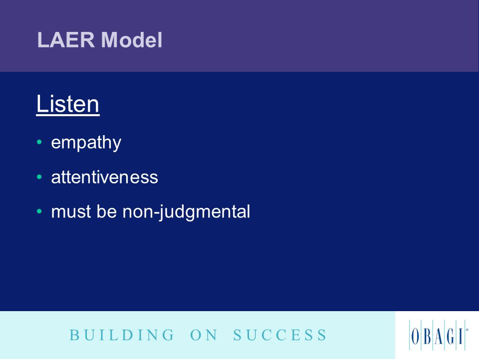 LAER Model Listen empathy attentiveness must be non-judgmental