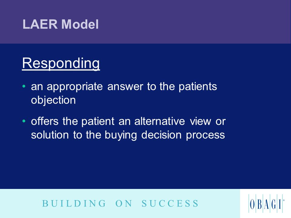 Responding LAER Model an appropriate answer to the patients objection