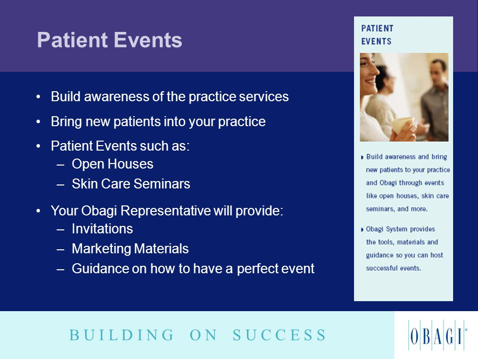 Patient Events Build awareness of the practice services