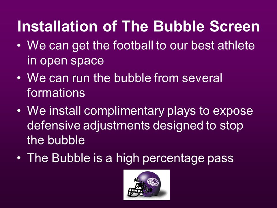 Installation of The Bubble Screen