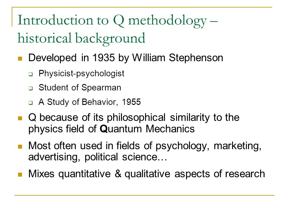 Introduction to Q methodology – historical background