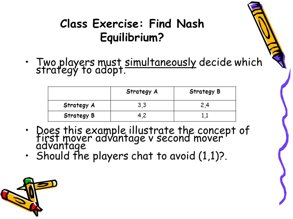 Class Exercise: Find Nash Equilibrium