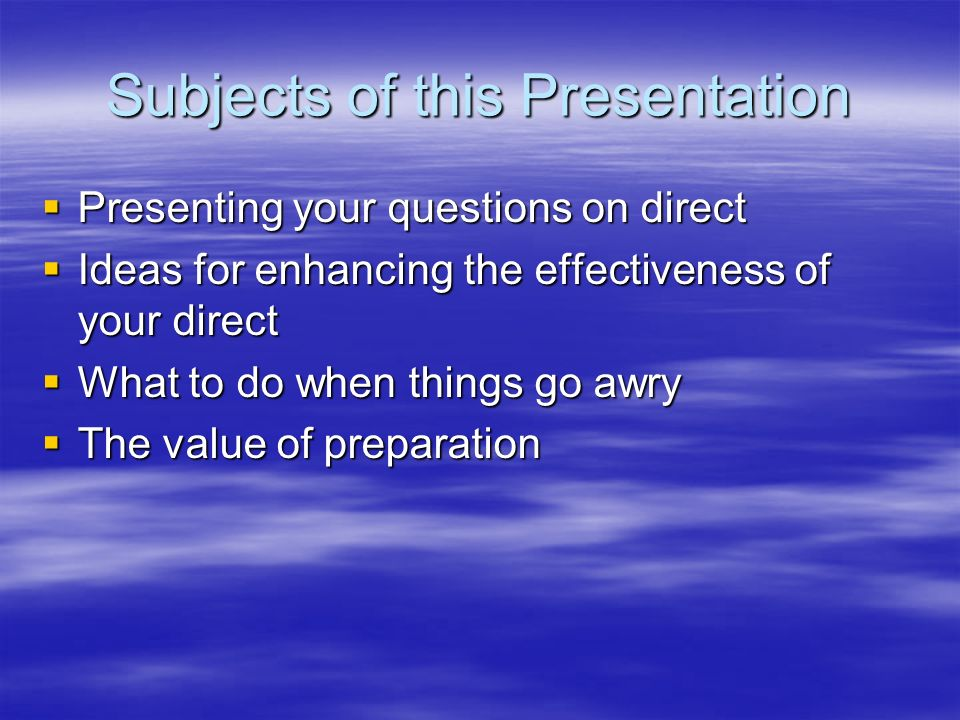 Subjects of this Presentation