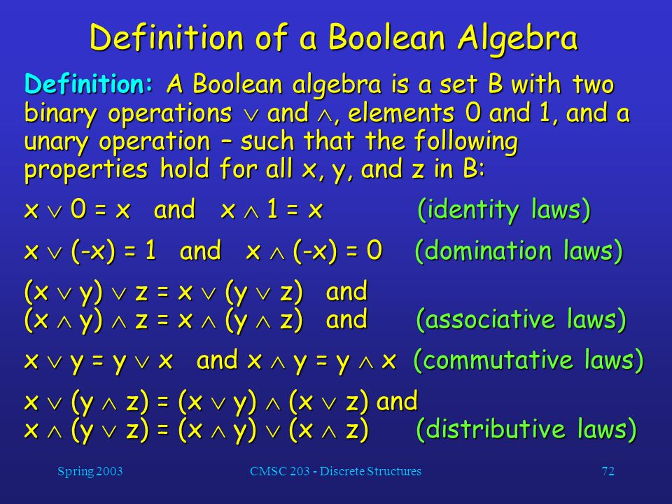 Definition of a Boolean Algebra