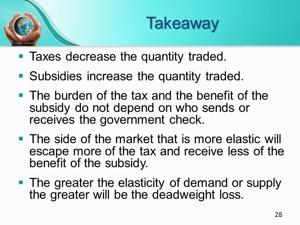 Takeaway Taxes decrease the quantity traded.